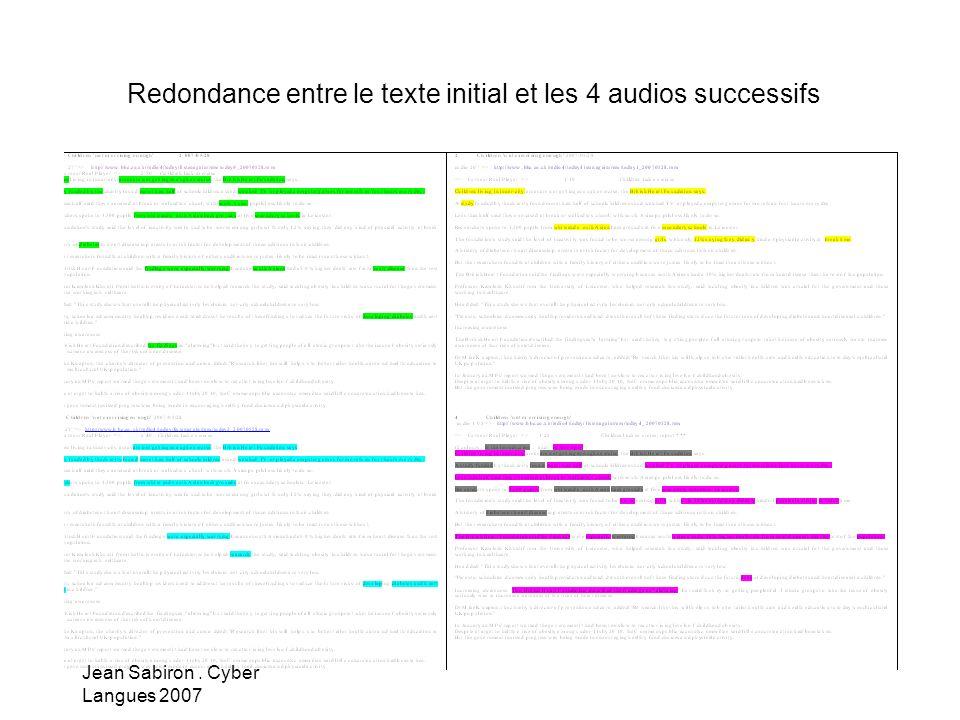 Jean Sabiron. Cyber Langues 2007 Redondance entre le texte initial et les 4 audios successifs