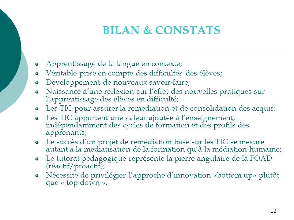 12 BILAN & CONSTATS Apprentissage de la langue en contexte; Véritable prise en compte des difficultés des élèves; Développement de nouveaux savoir-fai