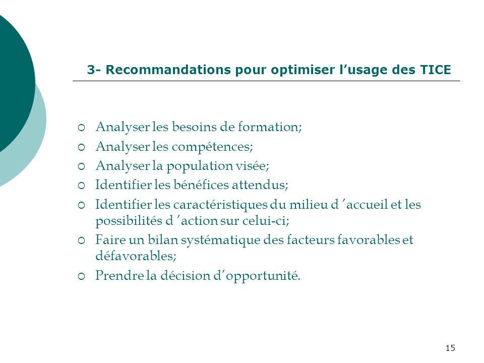 15 Analyser les besoins de formation; Analyser les compétences; Analyser la population visée; Identifier les bénéfices attendus; Identifier les caract