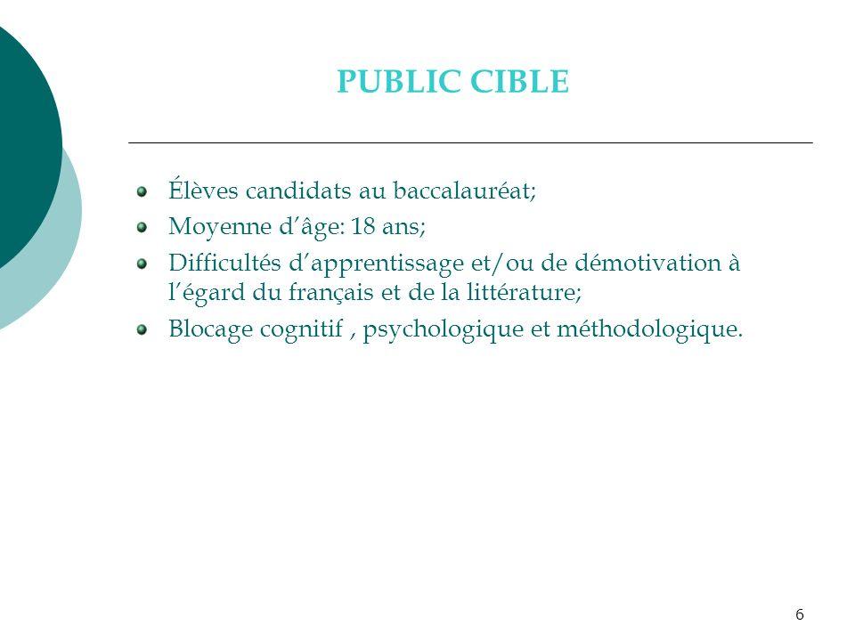6 PUBLIC CIBLE Élèves candidats au baccalauréat; Moyenne dâge: 18 ans; Difficultés dapprentissage et/ou de démotivation à légard du français et de la