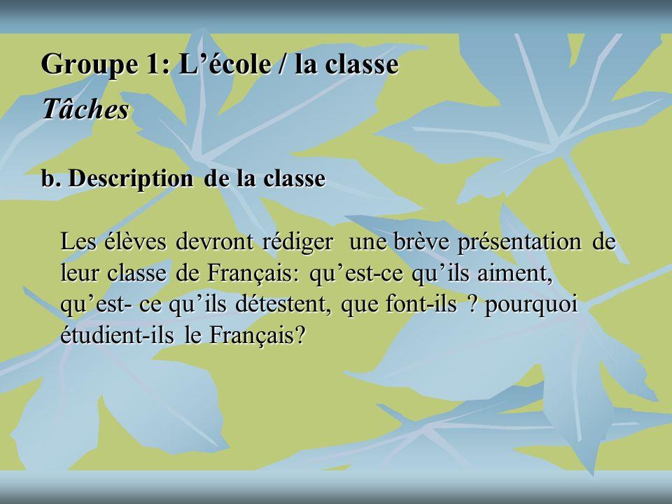 Groupe 1: Lécole / la classe Tâches c.