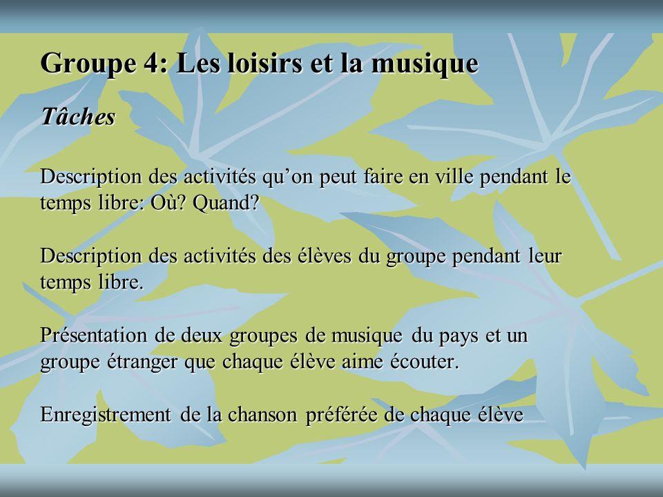 Groupe 4: Les loisirs et la musique Tâches Description des activités quon peut faire en ville pendant le temps libre: Où.