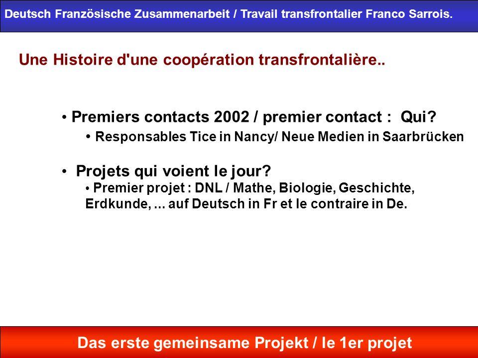 Une Histoire d'une coopération transfrontalière.. Premiers contacts 2002 / premier contact : Qui? Responsables Tice in Nancy/ Neue Medien in Saarbrück