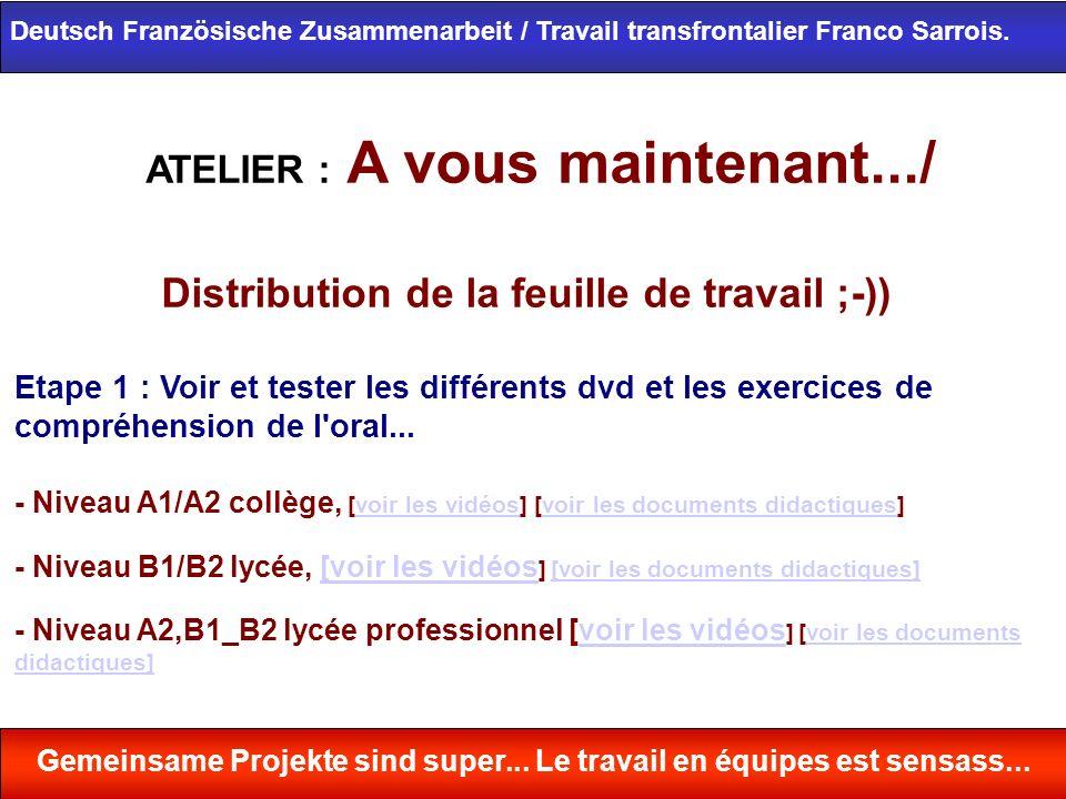 ATELIER : A vous maintenant.../ Distribution de la feuille de travail ;-)) Etape 1 : Voir et tester les différents dvd et les exercices de compréhensi
