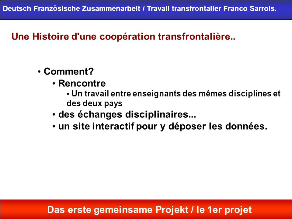 Une Histoire d'une coopération transfrontalière.. Comment? Rencontre Un travail entre enseignants des mêmes disciplines et des deux pays des échanges