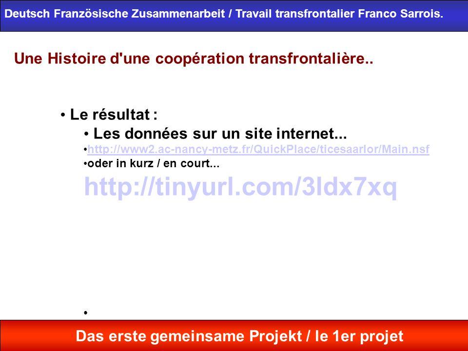 Une Histoire d'une coopération transfrontalière.. Le résultat : Les données sur un site internet... http://www2.ac-nancy-metz.fr/QuickPlace/ticesaarlo