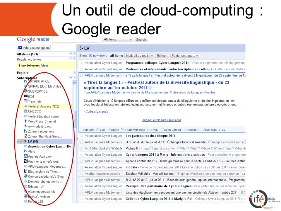 Un outil de cloud-computing : Google reader