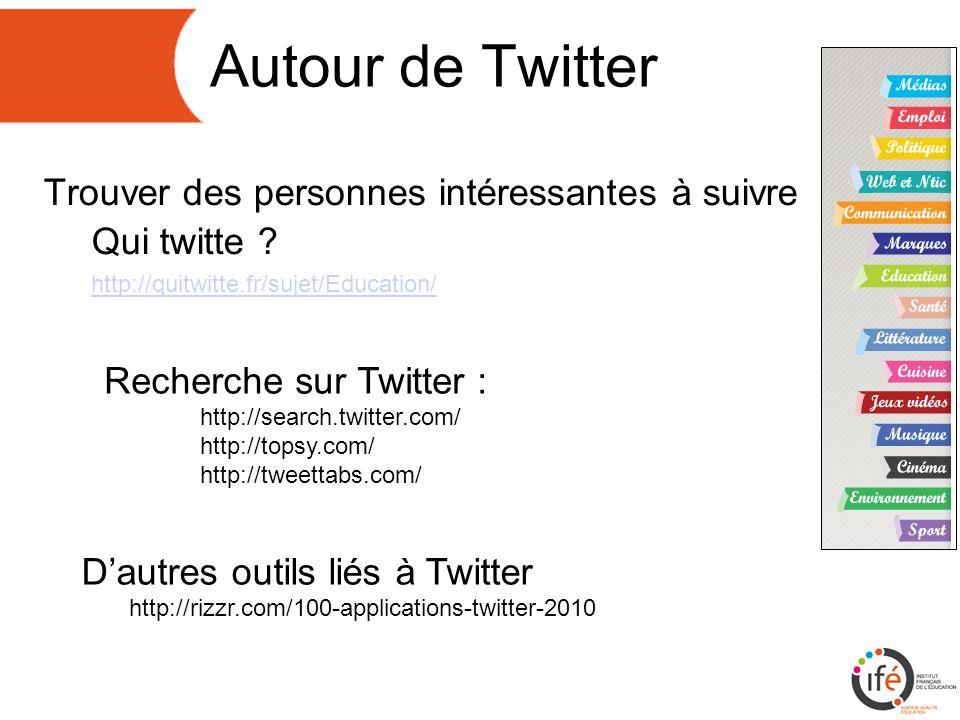 Autour de Twitter Trouver des personnes intéressantes à suivre Qui twitte .