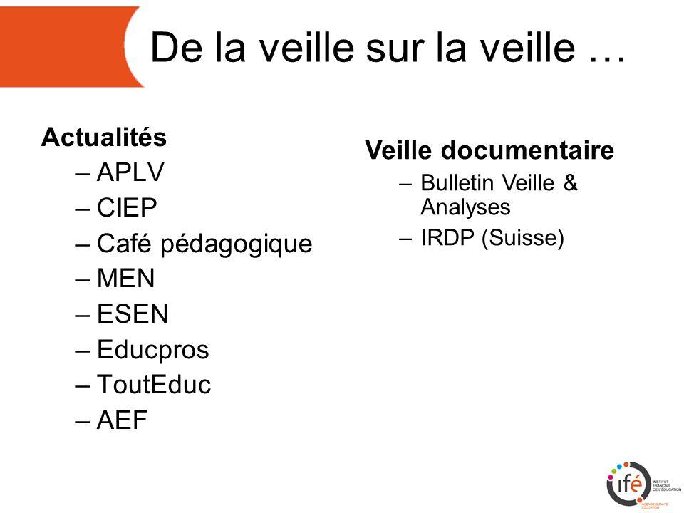 De la veille sur la veille … Actualités –APLV –CIEP –Café pédagogique –MEN –ESEN –Educpros –ToutEduc –AEF Veille documentaire –Bulletin Veille & Analyses –IRDP (Suisse)