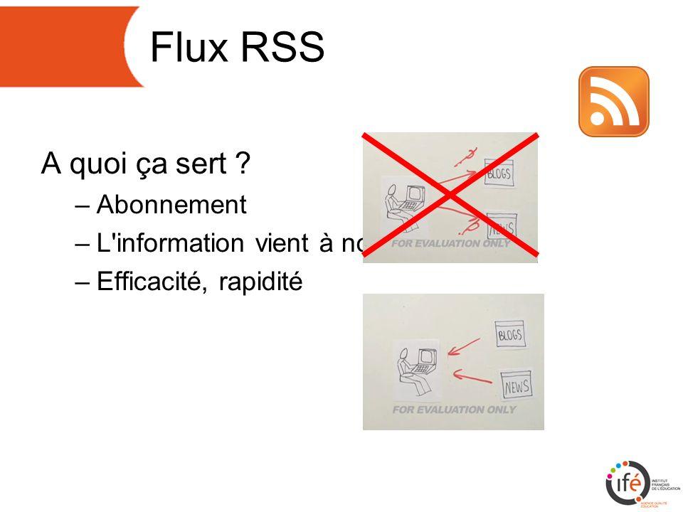Flux RSS A quoi ça sert –Abonnement –L information vient à nous –Efficacité, rapidité