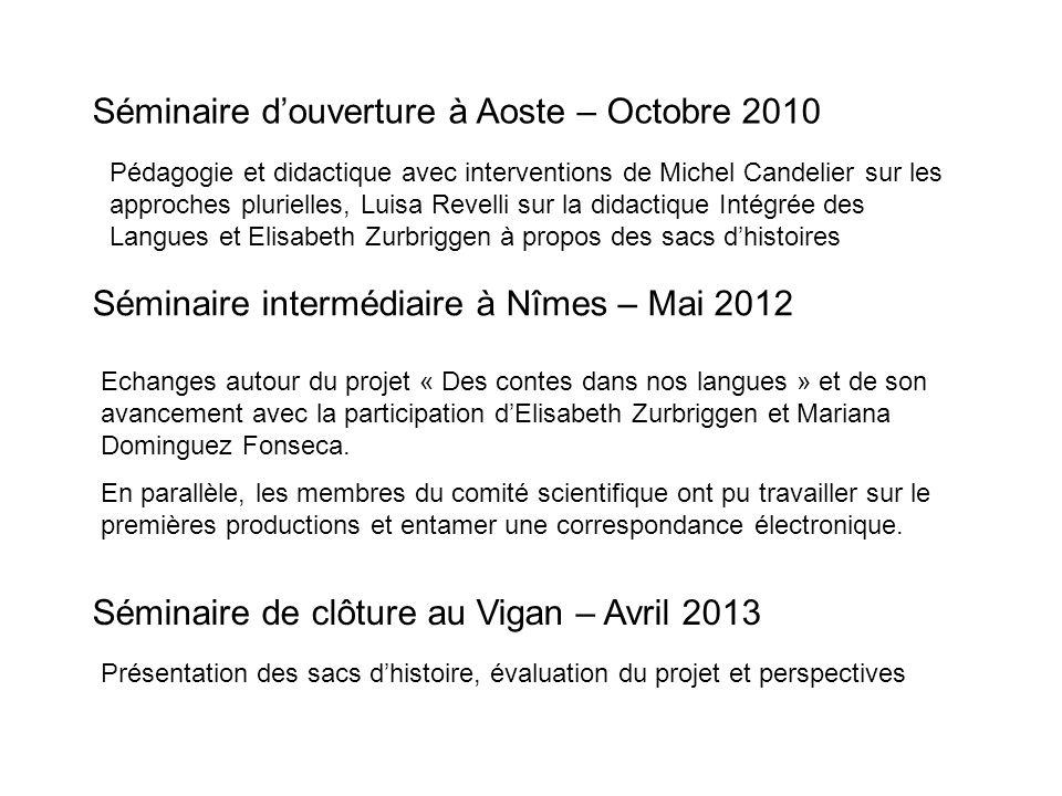 Séminaire douverture à Aoste – Octobre 2010 Pédagogie et didactique avec interventions de Michel Candelier sur les approches plurielles, Luisa Revelli