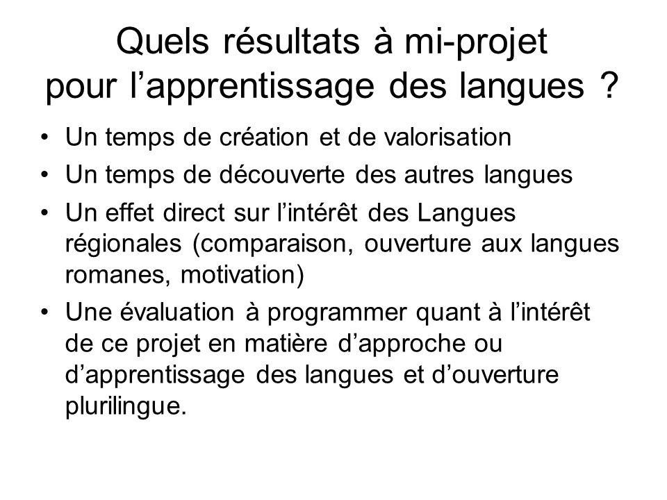 Quels résultats à mi-projet pour lapprentissage des langues ? Un temps de création et de valorisation Un temps de découverte des autres langues Un eff