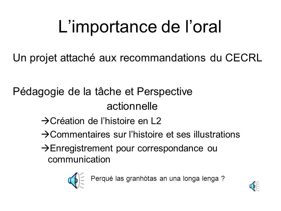 Limportance de loral Un projet attaché aux recommandations du CECRL Pédagogie de la tâche et Perspective actionnelle Création de lhistoire en L2 Comme