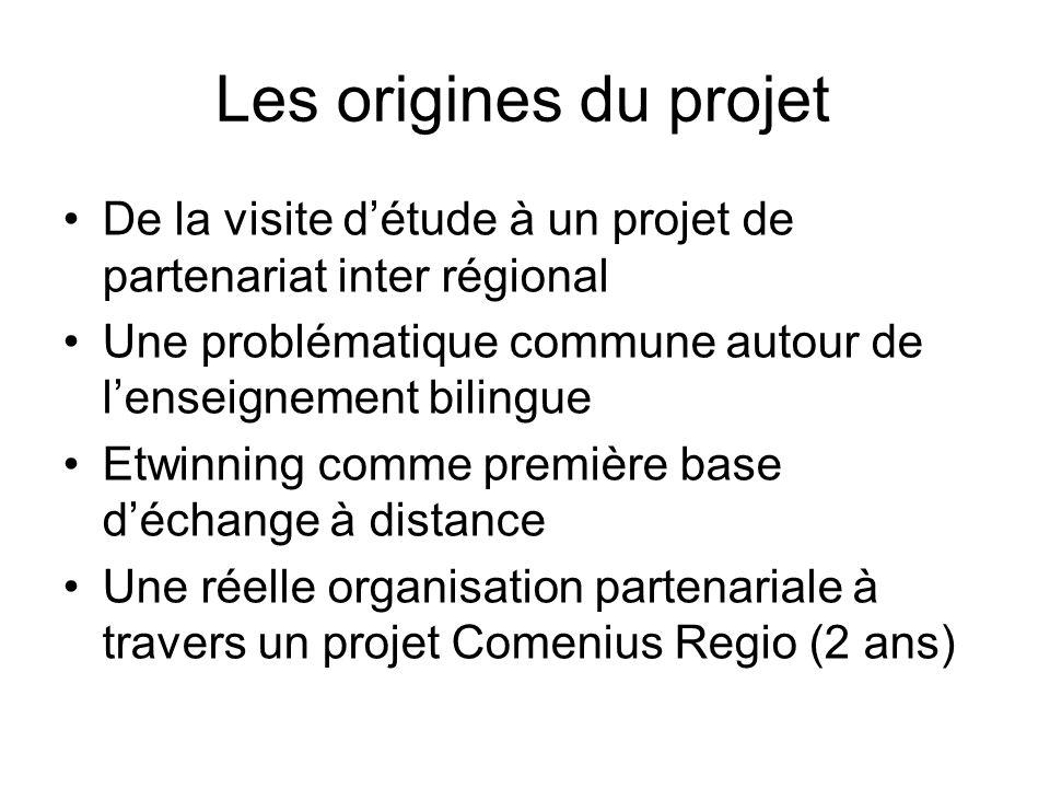 Les origines du projet De la visite détude à un projet de partenariat inter régional Une problématique commune autour de lenseignement bilingue Etwinn
