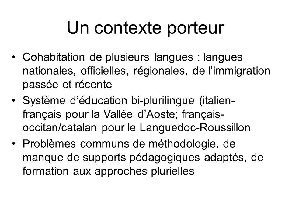 Un contexte porteur Cohabitation de plusieurs langues : langues nationales, officielles, régionales, de limmigration passée et récente Système déducat