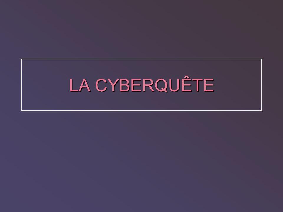 Notre expérience 1.La cyberquête: notre projet 2.Parties de la cyberquête Exemples 3. Évaluation 4. Réflexions sur lapprentissage