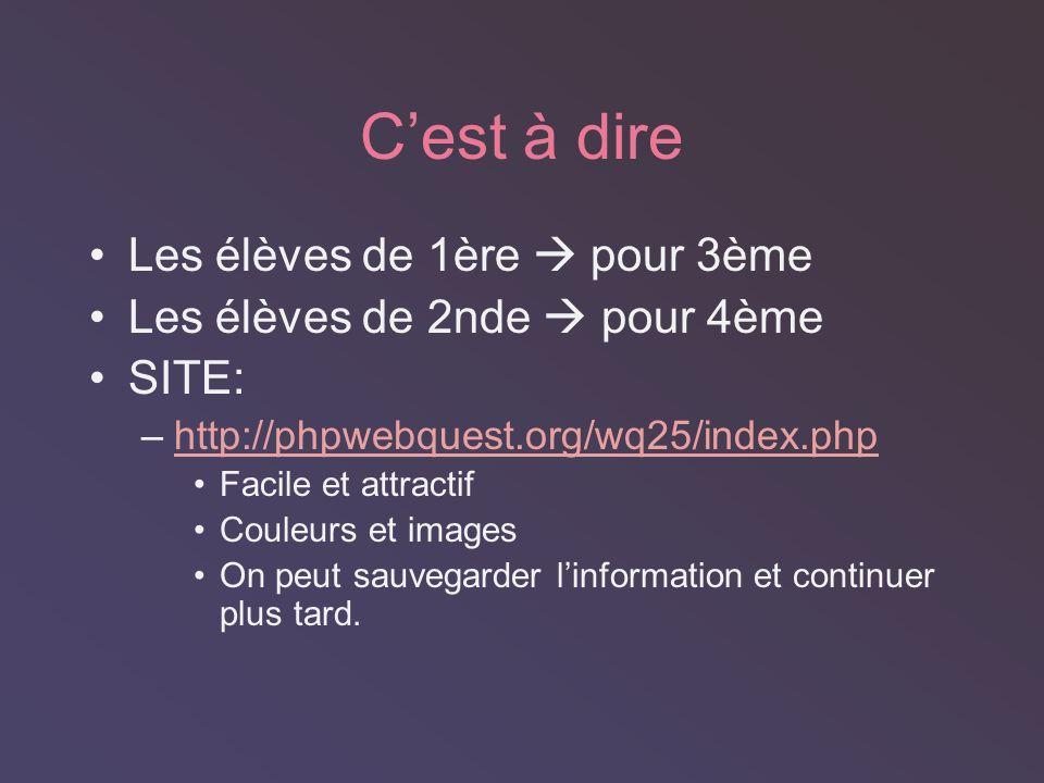 Cest à dire Les élèves de 1ère pour 3ème Les élèves de 2nde pour 4ème SITE: –http://phpwebquest.org/wq25/index.phphttp://phpwebquest.org/wq25/index.php Facile et attractif Couleurs et images On peut sauvegarder linformation et continuer plus tard.
