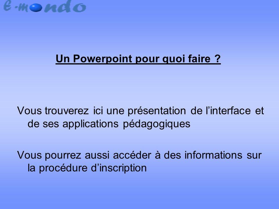 Un Powerpoint pour quoi faire .