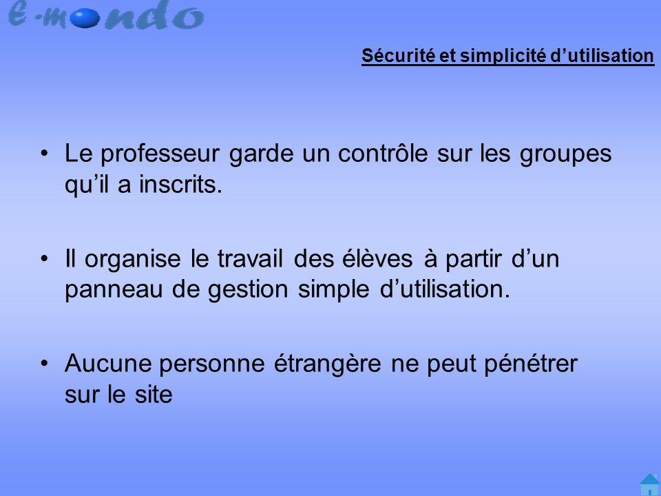Sécurité et simplicité dutilisation Le professeur garde un contrôle sur les groupes quil a inscrits.