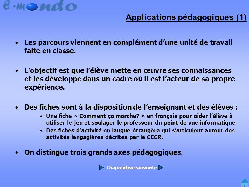 Applications pédagogiques (1) Les parcours viennent en complément dune unité de travail faite en classe.