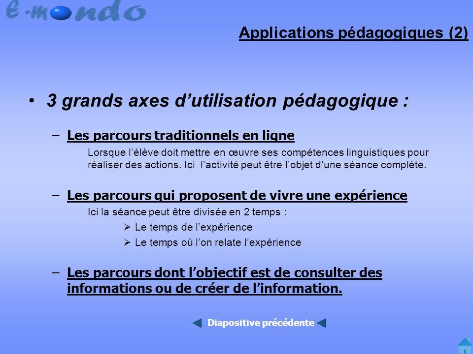 Applications pédagogiques (2) 3 grands axes dutilisation pédagogique : –Les parcours traditionnels en ligne Lorsque lélève doit mettre en œuvre ses compétences linguistiques pour réaliser des actions.