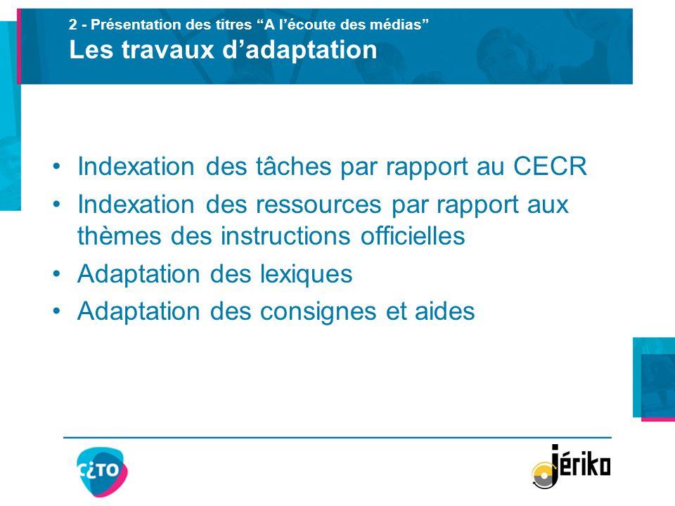 2 - Présentation des titres A lécoute des médias Les travaux dadaptation Indexation des tâches par rapport au CECR Indexation des ressources par rappo
