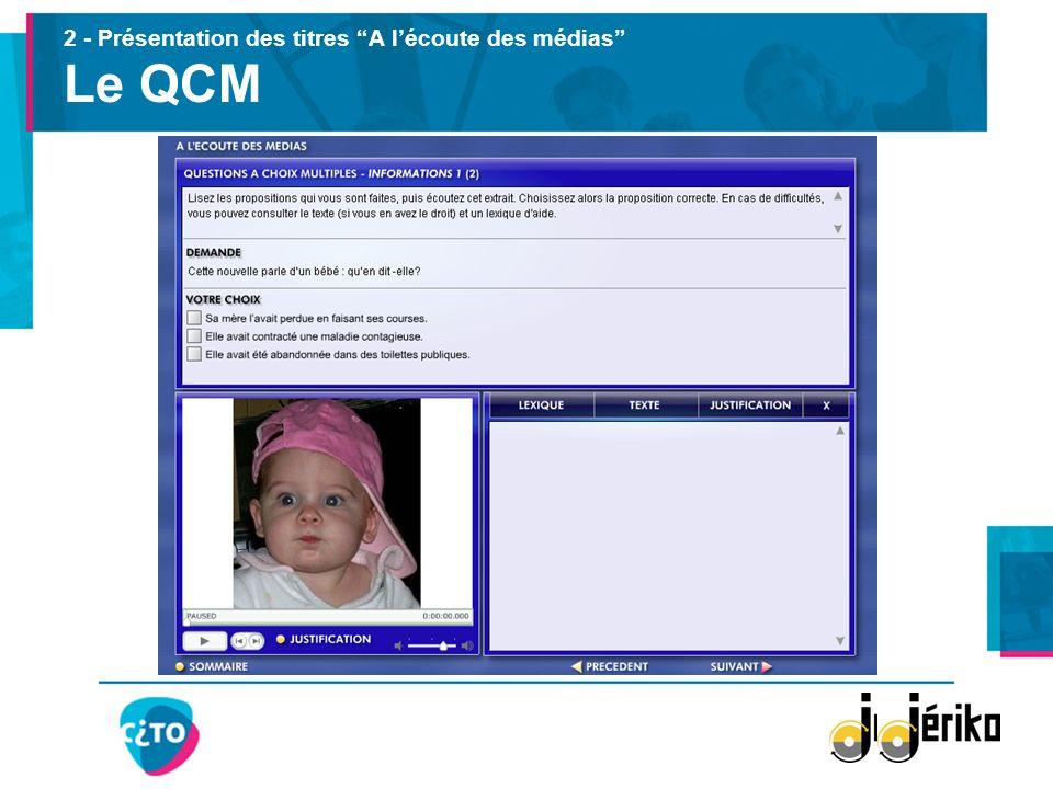 2 - Présentation des titres A lécoute des médias Le QCM