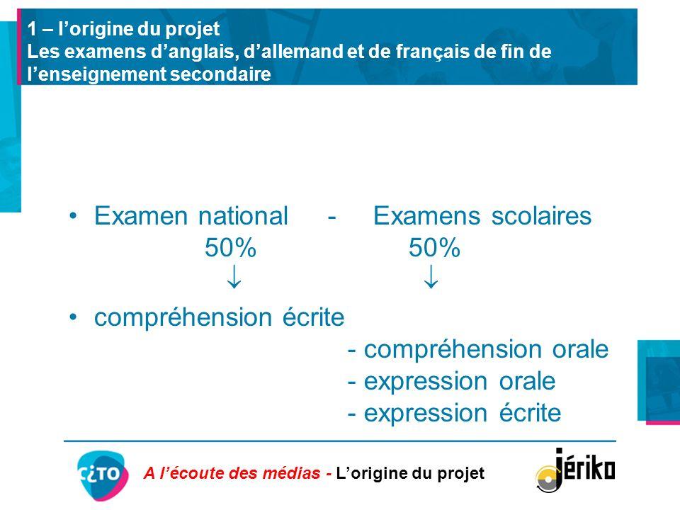 1 – lorigine du projet Les examens danglais, dallemand et de français de fin de lenseignement secondaire Examen national - Examens scolaires 50% 50% c