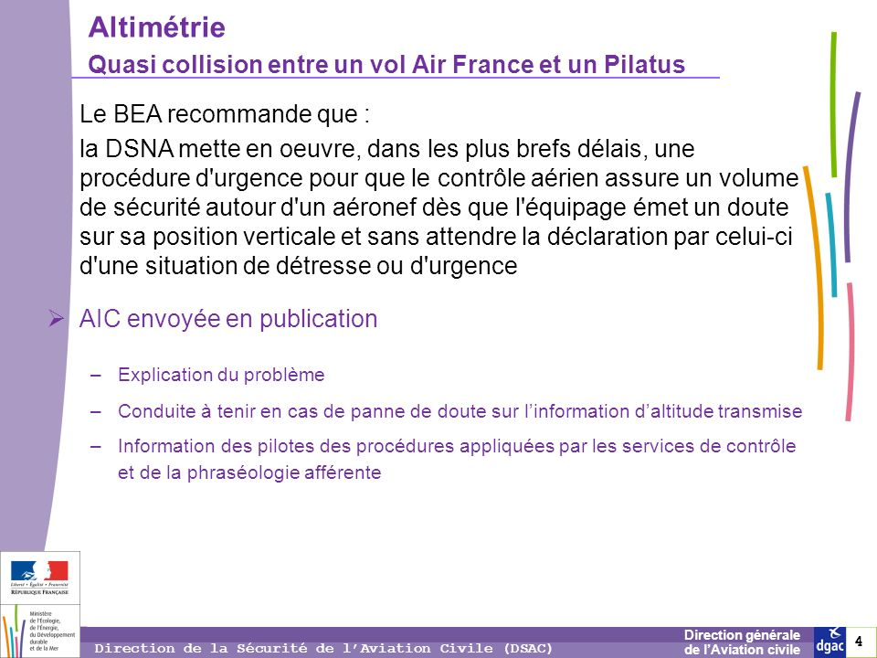 4 4 4 Direction générale de lAviation civile Direction de la Sécurité de lAviation Civile (DSAC) Altimétrie Quasi collision entre un vol Air France et
