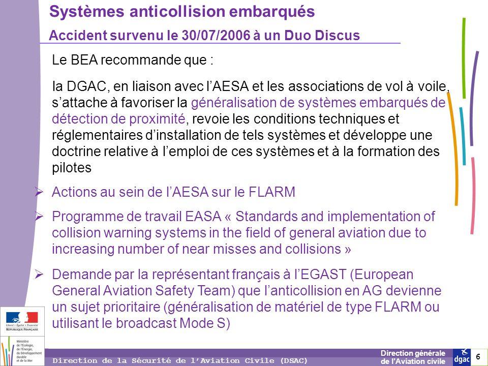 6 6 6 Direction générale de lAviation civile Direction de la Sécurité de lAviation Civile (DSAC) Systèmes anticollision embarqués Accident survenu le
