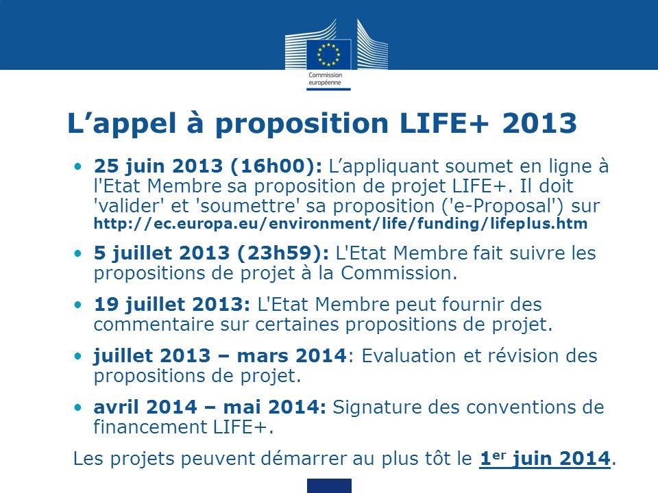 Lappel à proposition LIFE+ 2013 25 juin 2013 (16h00): Lappliquant soumet en ligne à l'Etat Membre sa proposition de projet LIFE+. Il doit 'valider' et