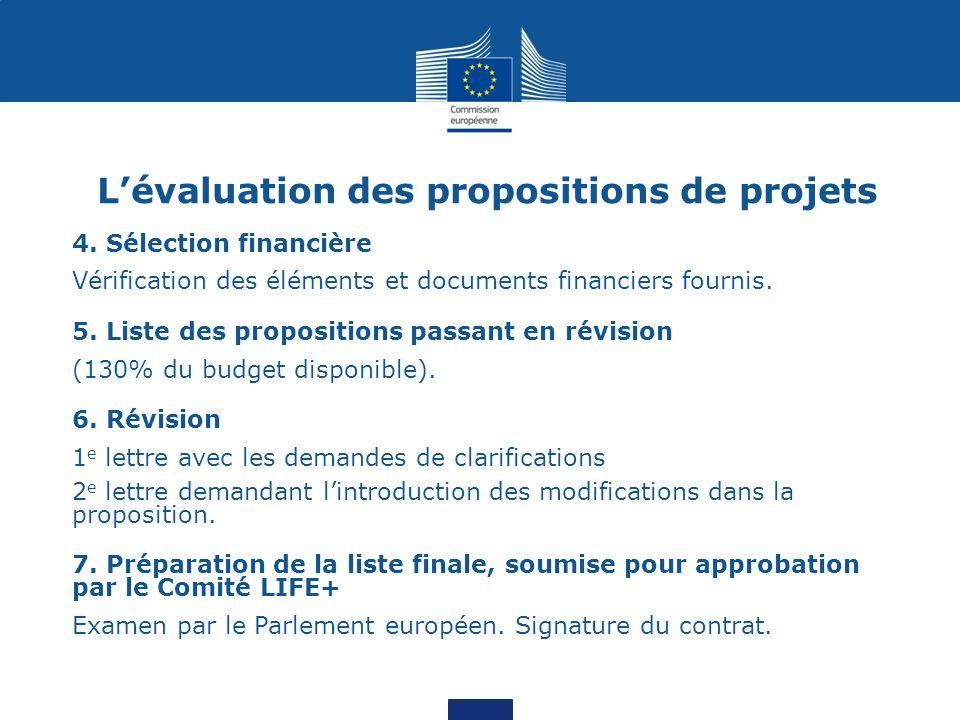 Lévaluation des propositions de projets 4. Sélection financière Vérification des éléments et documents financiers fournis. 5. Liste des propositions p