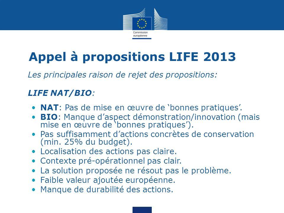 Appel à propositions LIFE 2013 Les principales raison de rejet des propositions: LIFE NAT/BIO: NAT: Pas de mise en œuvre de bonnes pratiques. BIO: Man