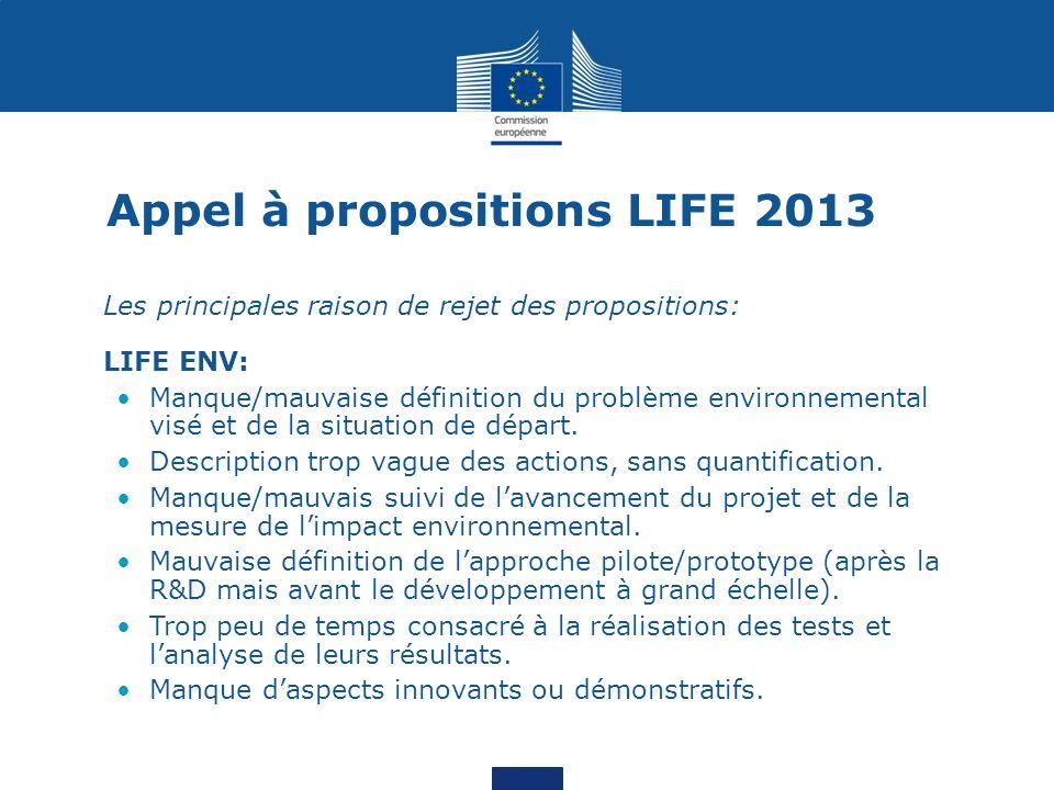 Appel à propositions LIFE 2013 Les principales raison de rejet des propositions: LIFE ENV: Manque/mauvaise définition du problème environnemental visé