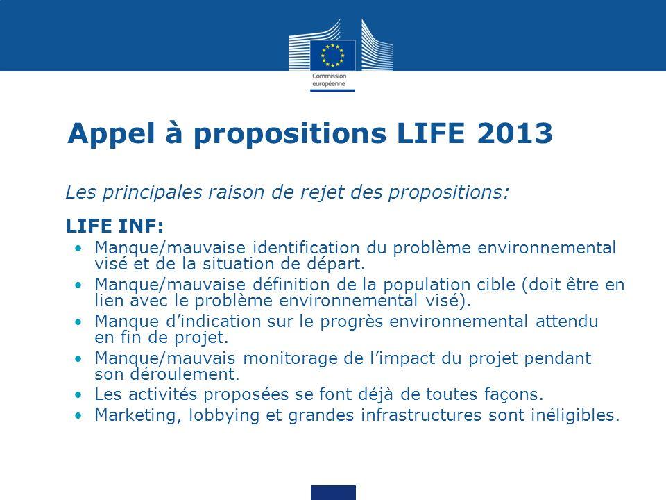 Appel à propositions LIFE 2013 Les principales raison de rejet des propositions: LIFE INF: Manque/mauvaise identification du problème environnemental