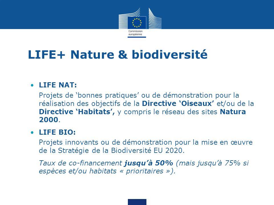LIFE+ Nature & biodiversité LIFE NAT: Projets de bonnes pratiques ou de démonstration pour la réalisation des objectifs de la Directive Oiseaux et/ou