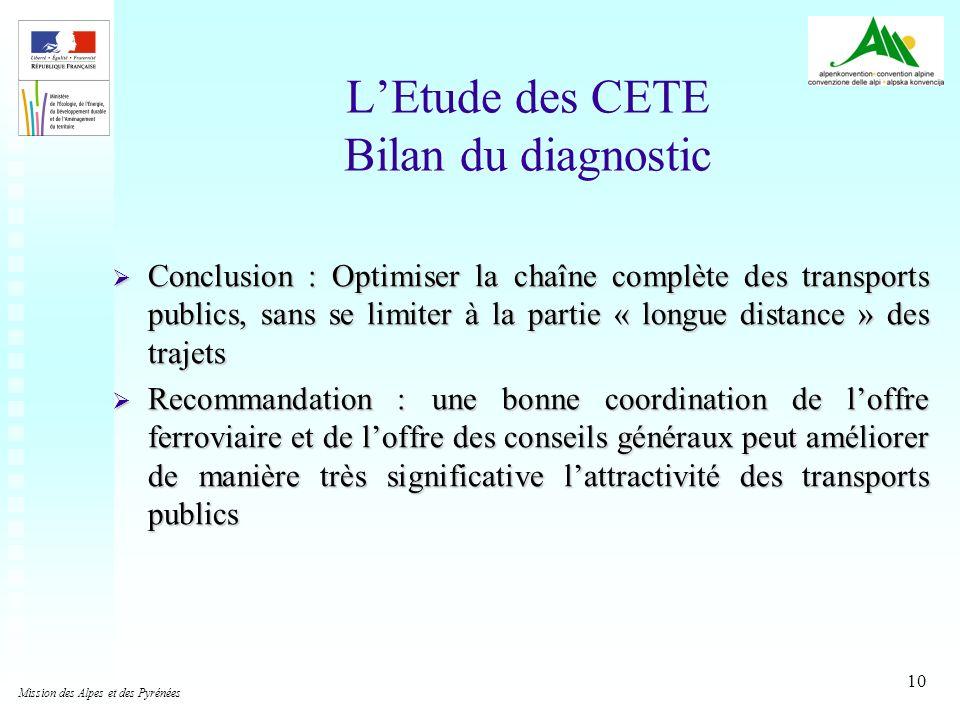 10 LEtude des CETE Bilan du diagnostic Conclusion : Optimiser la chaîne complète des transports publics, sans se limiter à la partie « longue distance