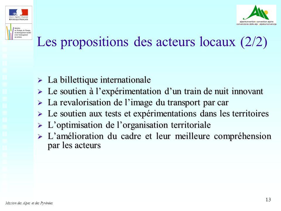 13 Les propositions des acteurs locaux (2/2) La billettique internationale La billettique internationale Le soutien à lexpérimentation dun train de nu