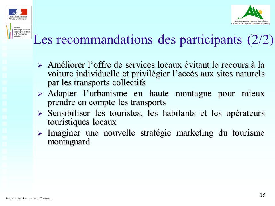 15 Les recommandations des participants (2/2) Améliorer loffre de services locaux évitant le recours à la voiture individuelle et privilégier laccès a