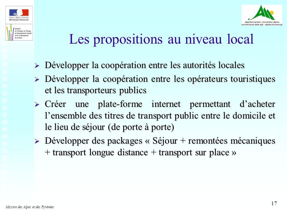 17 Les propositions au niveau local Développer la coopération entre les autorités locales Développer la coopération entre les autorités locales Dévelo