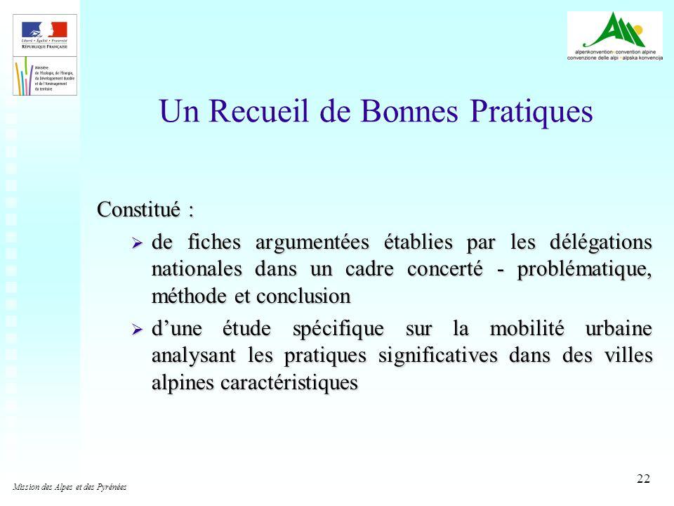 22 Un Recueil de Bonnes Pratiques Constitué : de fiches argumentées établies par les délégations nationales dans un cadre concerté - problématique, mé