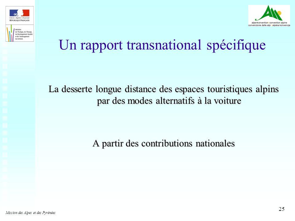 25 Un rapport transnational spécifique La desserte longue distance des espaces touristiques alpins par des modes alternatifs à la voiture A partir des