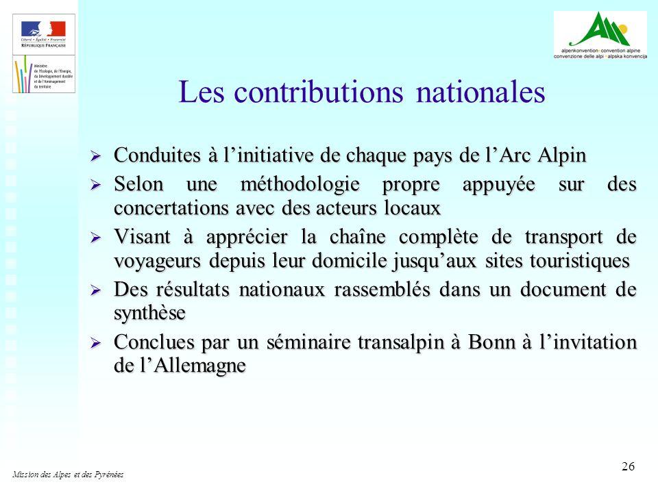 26 Les contributions nationales Conduites à linitiative de chaque pays de lArc Alpin Conduites à linitiative de chaque pays de lArc Alpin Selon une mé