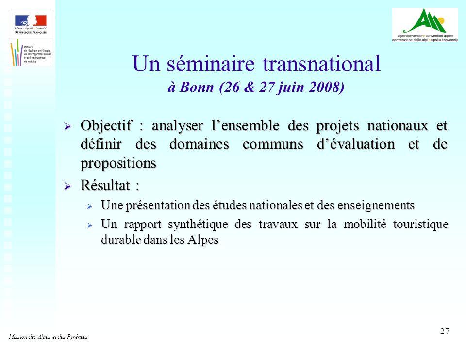 27 Un séminaire transnational à Bonn (26 & 27 juin 2008) Objectif : analyser lensemble des projets nationaux et définir des domaines communs dévaluati