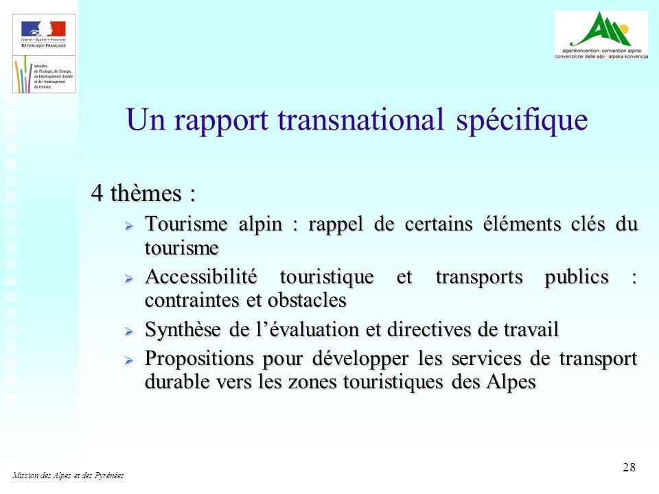 28 Un rapport transnational spécifique 4 thèmes : Tourisme alpin : rappel de certains éléments clés du tourisme Tourisme alpin : rappel de certains él