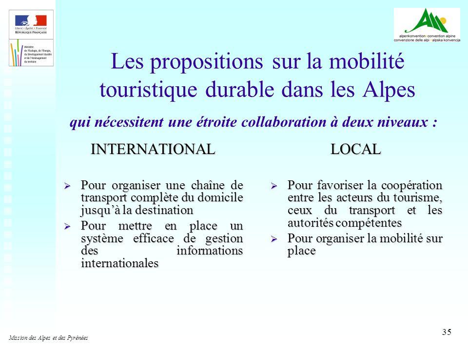 35 Les propositions sur la mobilité touristique durable dans les Alpes INTERNATIONAL Pour organiser une chaîne de transport complète du domicile jusqu