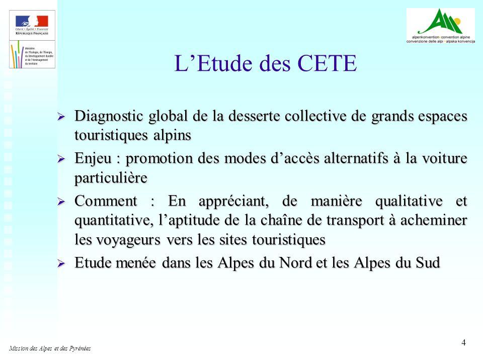 4 LEtude des CETE Diagnostic global de la desserte collective de grands espaces touristiques alpins Diagnostic global de la desserte collective de gra