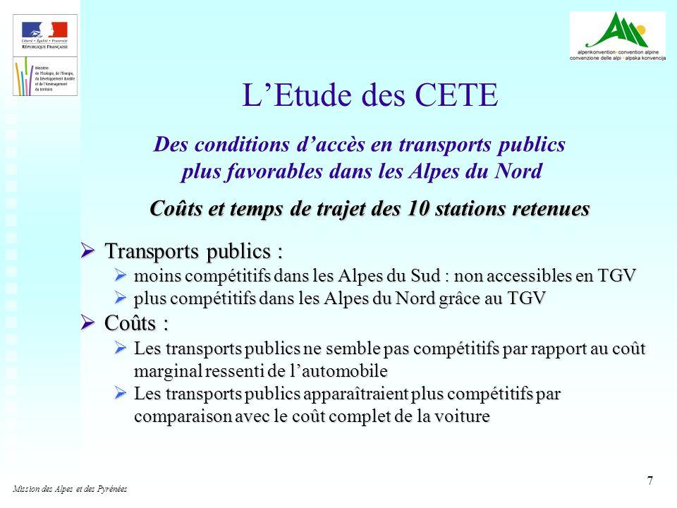 7 LEtude des CETE Transports publics : Transports publics : moins compétitifs dans les Alpes du Sud : non accessibles en TGV moins compétitifs dans le