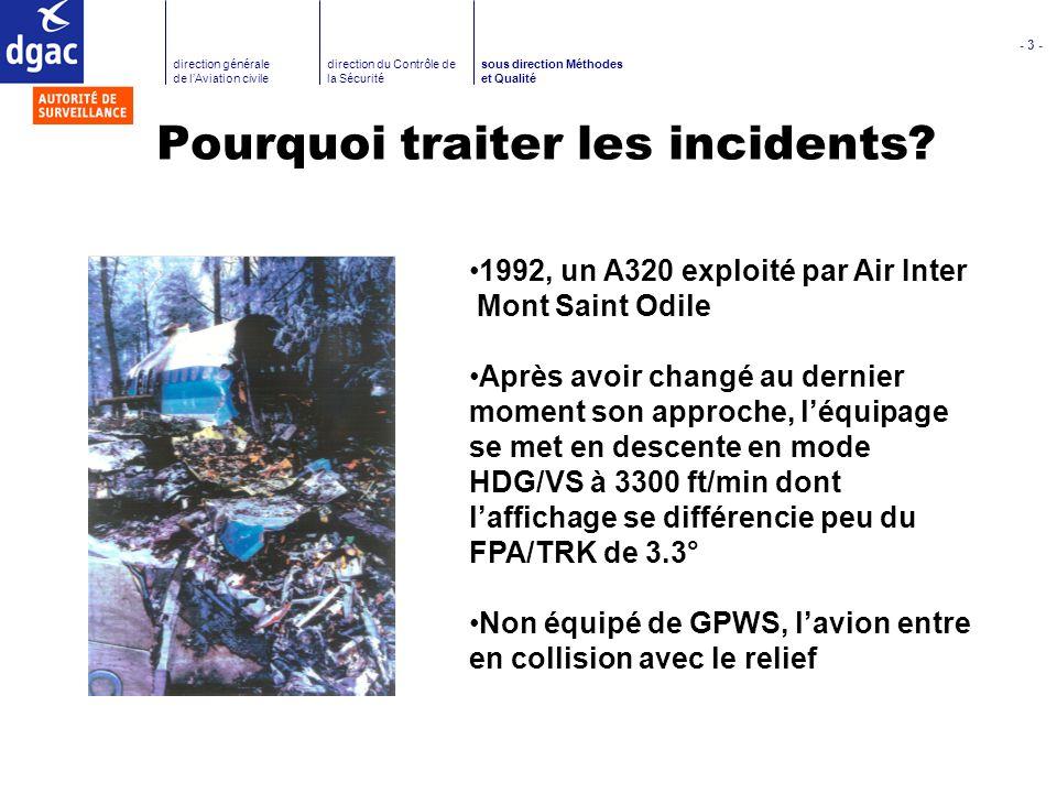 - 4 - direction générale de lAviation civile direction du Contrôle de la Sécurité sous direction Méthodes et Qualité Pourquoi traiter les incidents.
