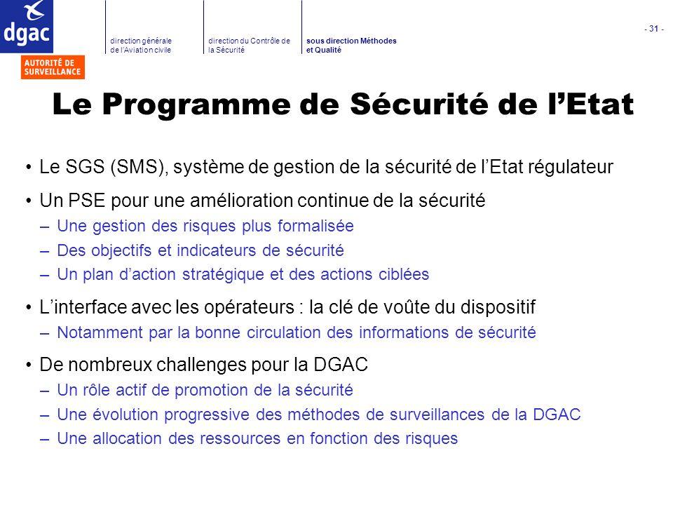 - 31 - direction générale de lAviation civile direction du Contrôle de la Sécurité sous direction Méthodes et Qualité Le Programme de Sécurité de lEta